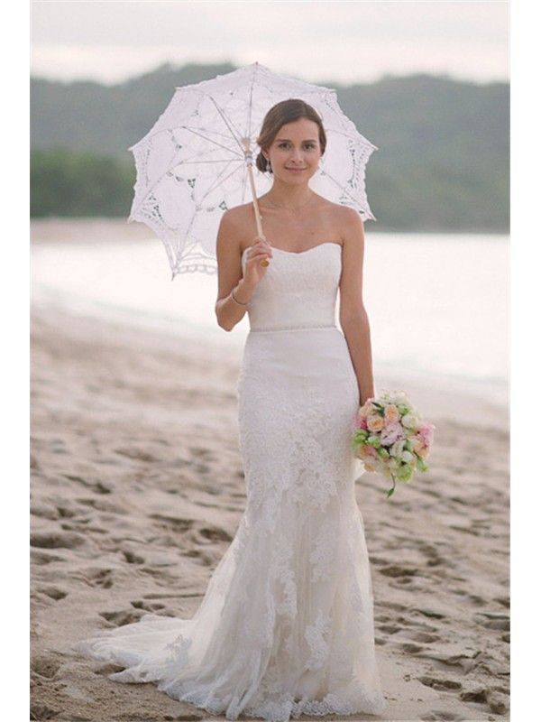 b0eea26e37 SHEALTH SWEETHEART FLOOR LENGTH SIMPLE BEACH WEDDING DRESS WITH LACE  APPLIQUE