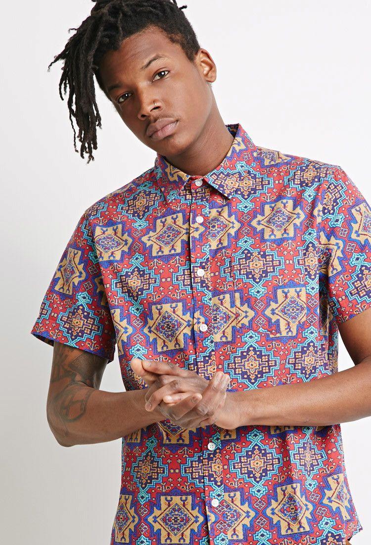 Blurred Southwestern Print Shirt Men 2000078745 Forever 21