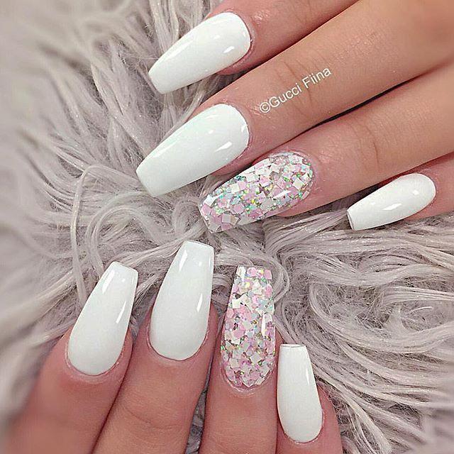 Pretty white coffin nails with glitter nail art accent - Pinterest ❁ Priincesssprisi NAILS Pinterest Nail Nail, Coffin
