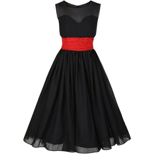 Black bridesmaid dress, with sheer cotton chiffon bodice over a sweetheart neckline, full skirt with sheer cotton chiffon.  I adore cotton chiffon, it has a lightness of spirit, and makes anyone's walk look like dancing.  I am not too sure of the contrast waistband...Perhaps a darker red?  Or each bridesmaid in a slightly different tone, very subtle, such as three tones of dark purple? Or better yet, keep it all black, and carry white flower.  Gorgeous!