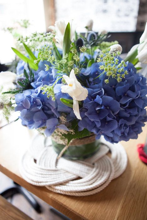 blue and white wedding flowers styling by Roey Mizrahi Events; flowers by Blade Floral and Event Designs  ©Alexis June Weddings - Red, White + Blue Photo Shoot