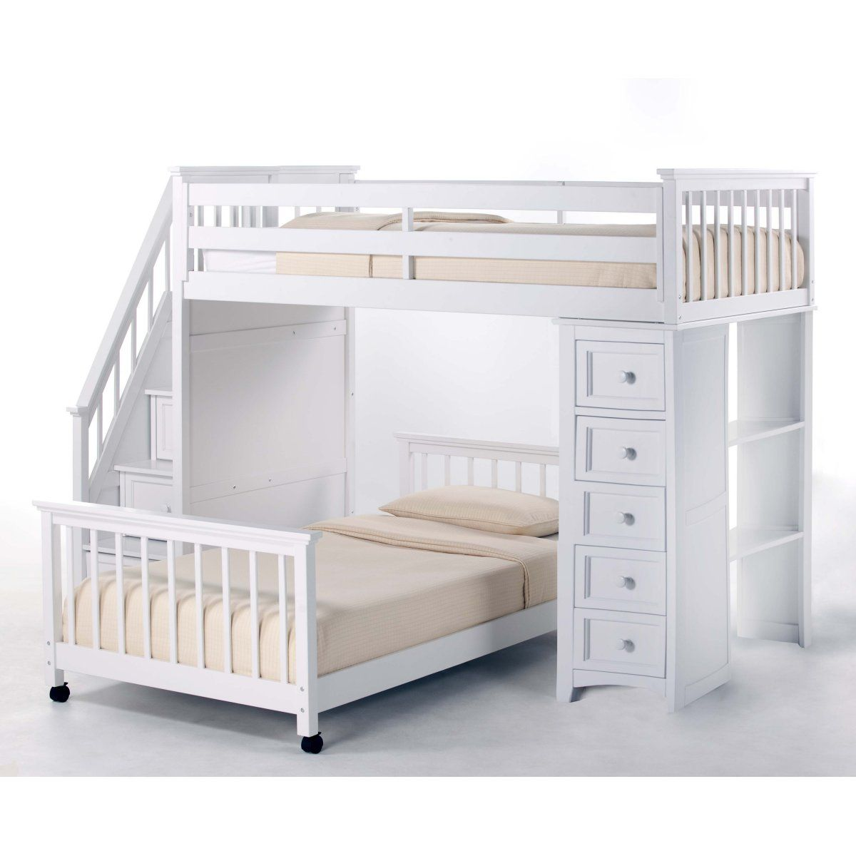 School House Stair Loft With Chest End White Loft Beds