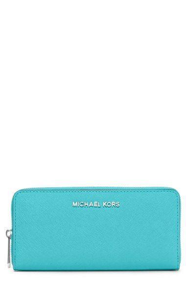 Women's MICHAEL Michael Kors 'Jet Set' Zip Around Continental Wallet - Blue/green