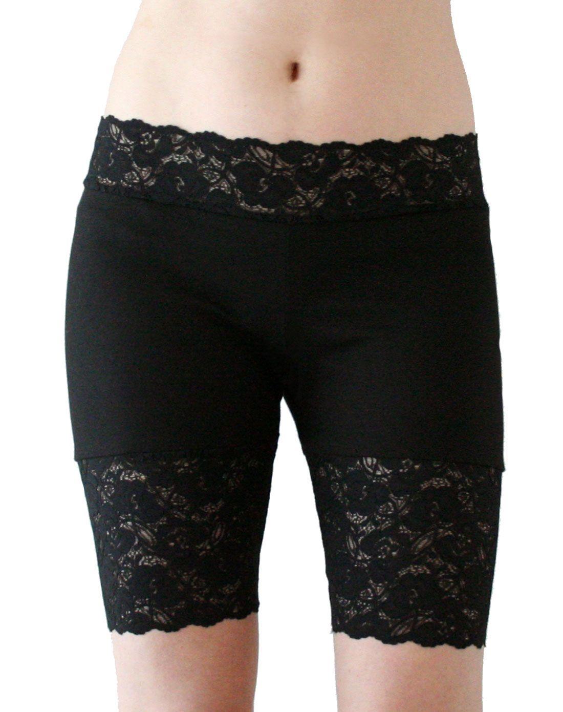 ee4740de3e09e3 Wide Waistband Black Stretch Lace Shorts high-waisted plus size goth bike  shorts XS S M L XL 2XL 3XL Short Leggings Lace Trim High Waist