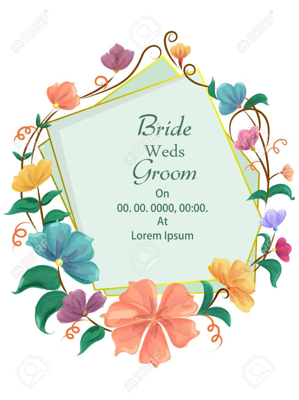 Easy To Edit Vector Illustration Of Floral Design Wedding Invitation Greetings Card Template Bac Greeting Card Template Wedding Invitation Design Card Template