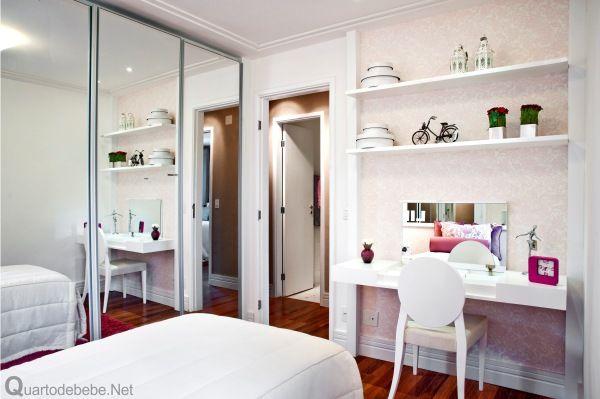 Armario De Banheiro Planejado ~ Quarto de menina adolescente rosa e branco Bedrooms, Quartos and Room