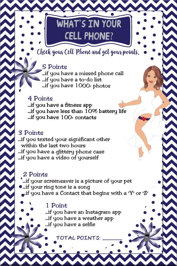 What's In your Cell Phone Game. Bridal shower game that is