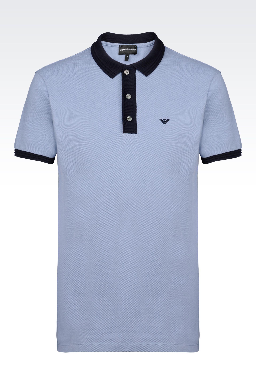 5cc6d518 Emporio Armani Men Short Sleeved Polo Shirt - POLO SHIRT IN COTTON PIQUE  Emporio