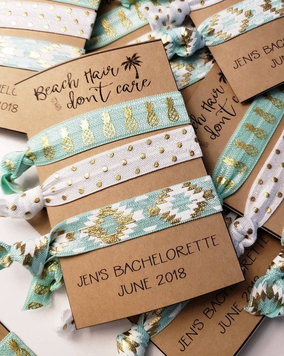Set of 3 Beach Hair Don t Care   Bachelorette Party Favors   Beach Bach   Elastic Hair Tie   Creasele 6b0451415dc