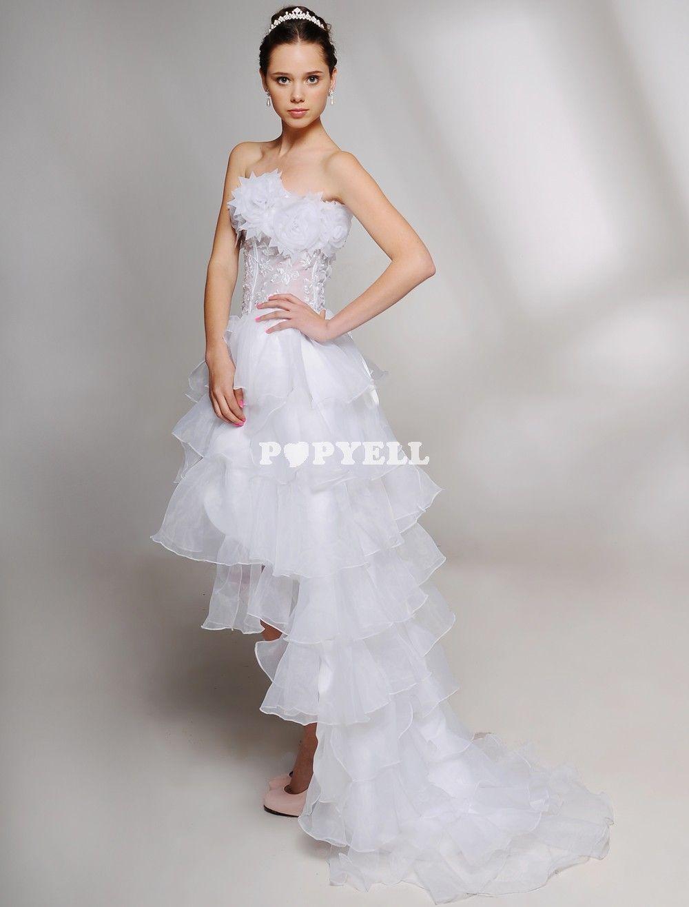 Mini wedding dresses  robe mariage courte Robe de mariage trapèze asymétrique en satin