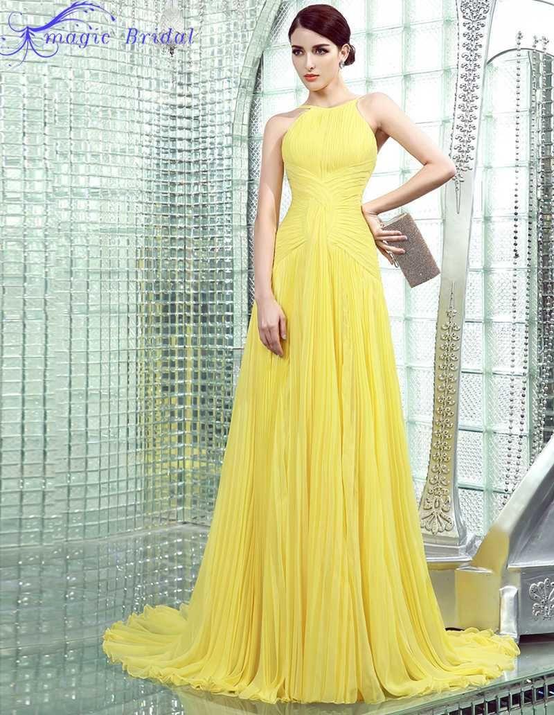 Cheap simple yellow pleated chiffon long evening dress new