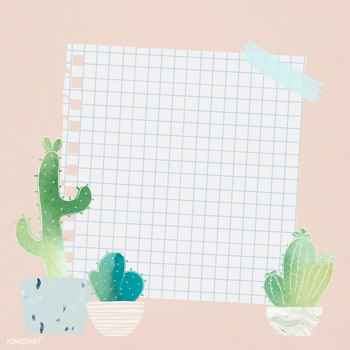 Download premium vector of Blank paper with cactus