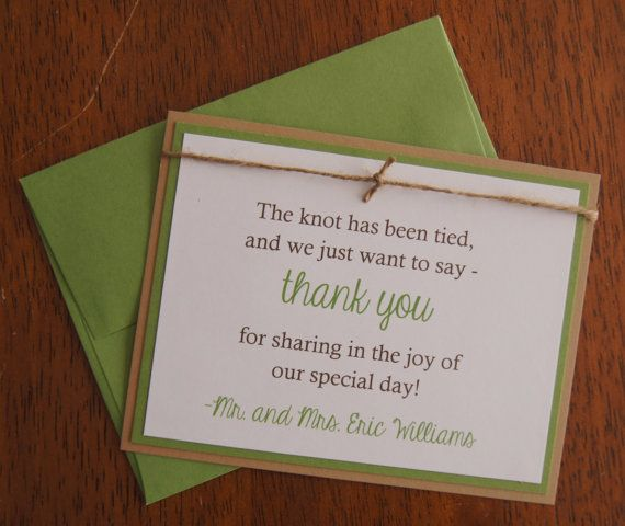 Wedding Thank You Note Tie The Knot By Hyheartinvites On Etsy