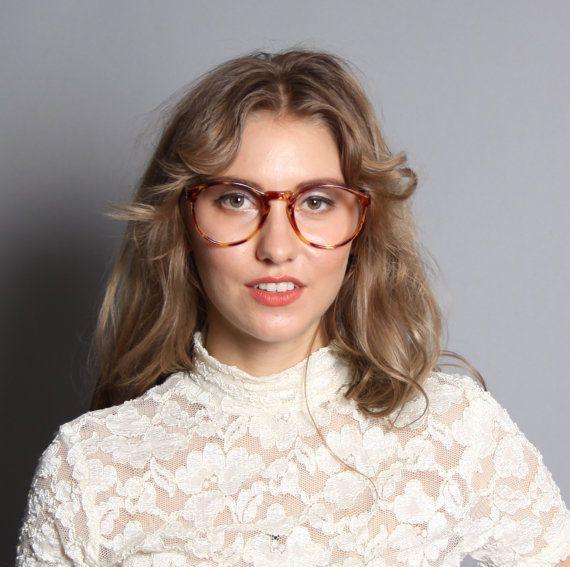 Vintage 80s Tortoise Brown Oversized Eyeglasses Frames