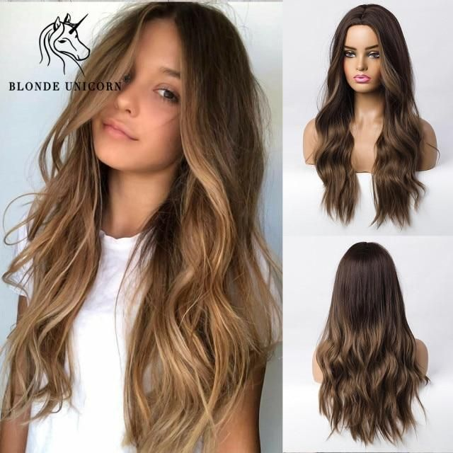 Photo of Blonde Unicorn Ombre Blonde Brown Long Wig Middle Part Hair Wig Cosplay Natural Wavy Heat Resistant Synthetic Wigs for Women – lc179-1 / Russian Federation