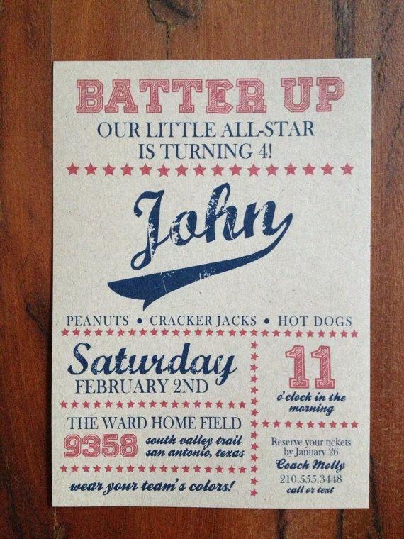 Vintage Baseball Invitations PRINTED Birthday By ElChoffel 2600