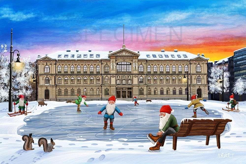 Joulukortti Ateneum ja Jääpuisto, Helsinki