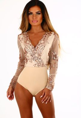 3cfdae561bc7 Love On My Mind Rose Gold Sequin Long Sleeve Bodysuit | Maid of ...