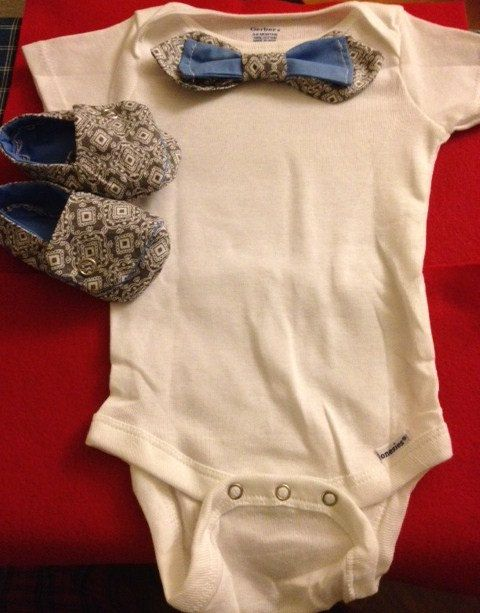 Baby boy onesie bow tie with matching shoes $22