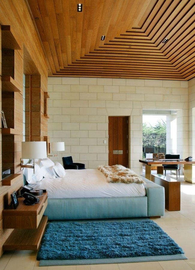 white interior design with wood machimbrado ceilings