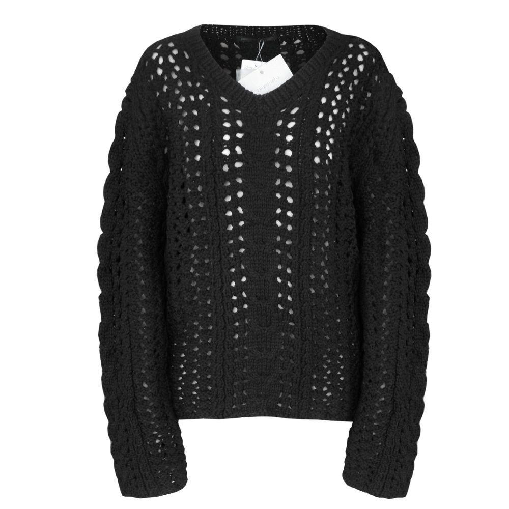 YOHJI YAMAMOTO oversized black chunky open cable knit jumper sweater 3-JP/8 NEW #YohjiYamamoto #VNeck