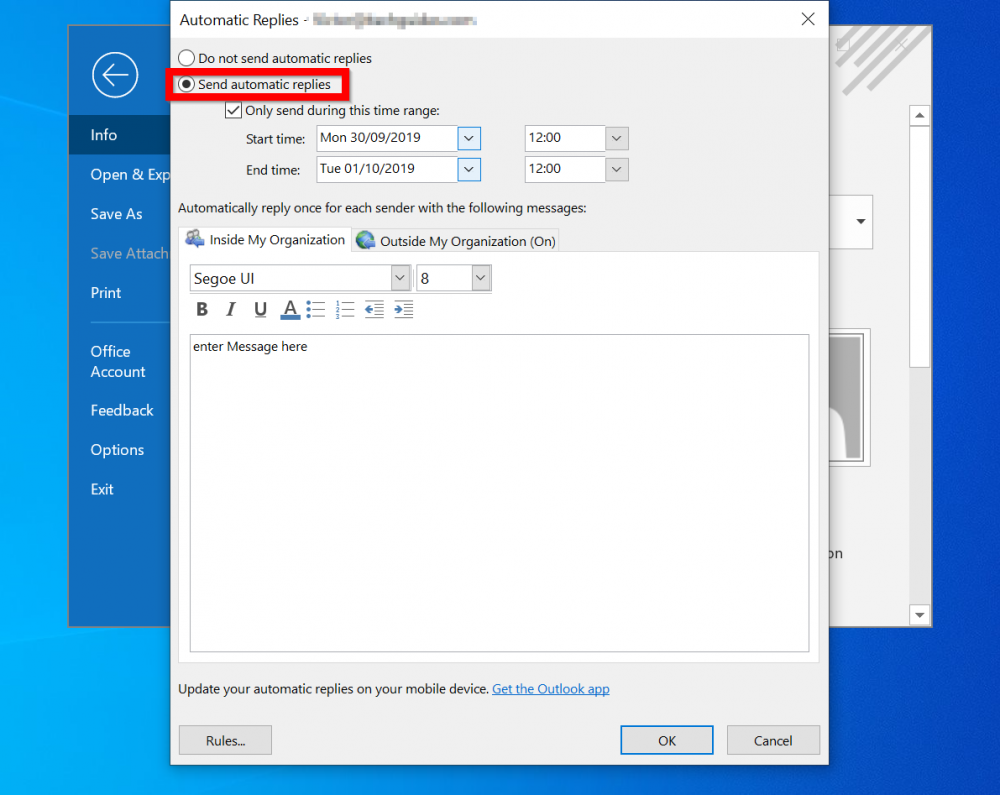 How To Set Out Of Office Auto Reply In Outlook Outlook Com And