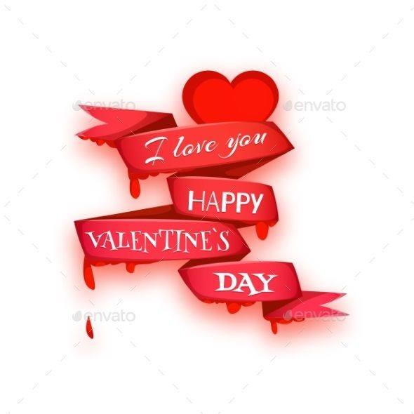 Happy Valentine Day Banner Heart With Ribbon Vector Illustration