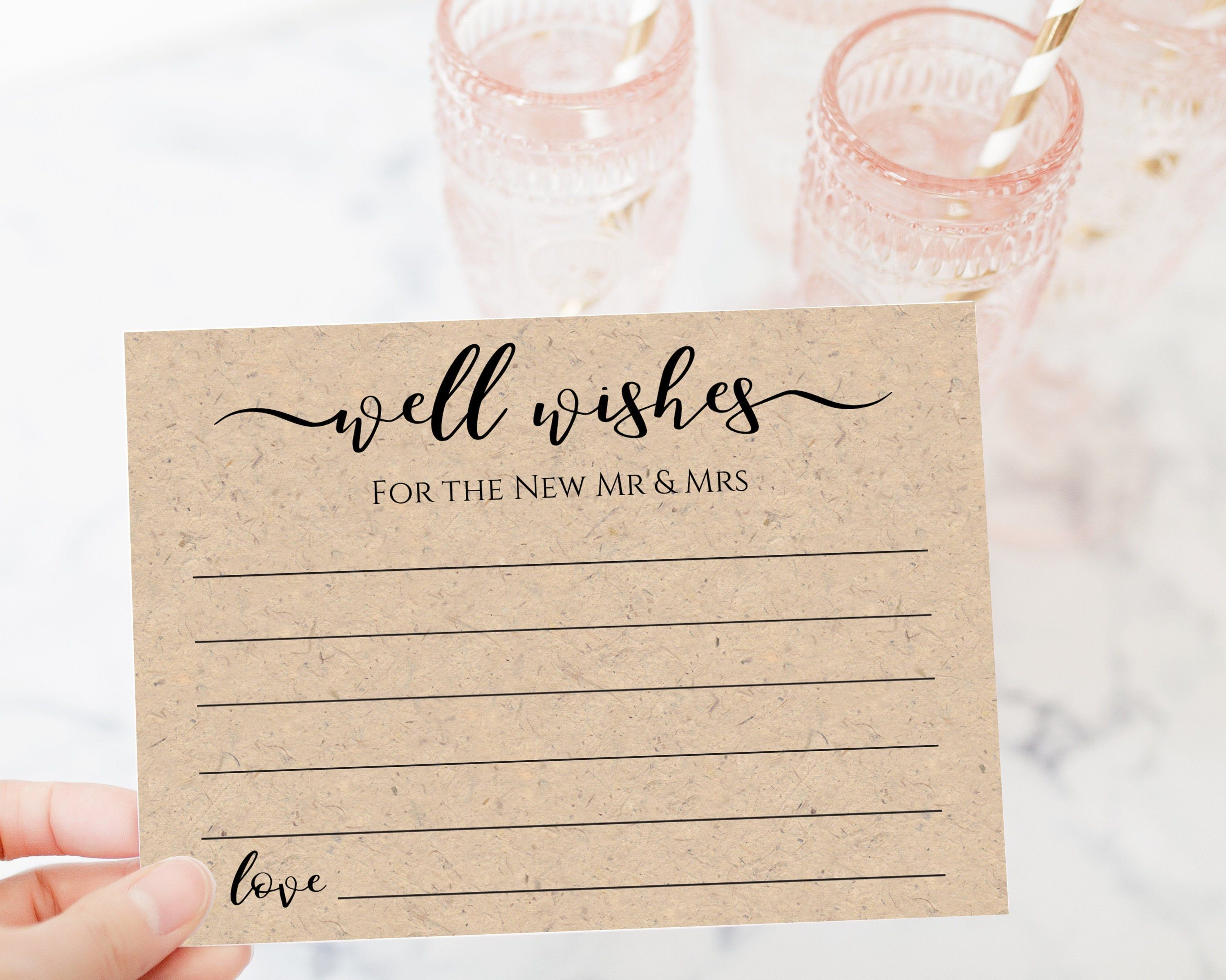 Well Wishes Card Template Rustic Modern Leaf Wedding Or Etsy Bridal Shower Advice Cards Bridal Shower Advice Wedding Card Templates