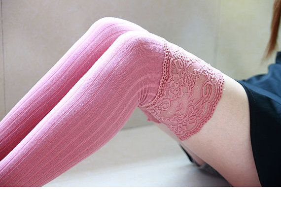 Womens Lace Socks Pink Thigh High Ruffle For Bridesmaids Long Sweet
