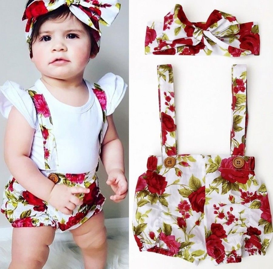 265ab2f6db99 Floral Toddler Baby Kids Girls Rompers Jumpsuit Shorts Pants + Headband  Summer Outfits Clothes Set