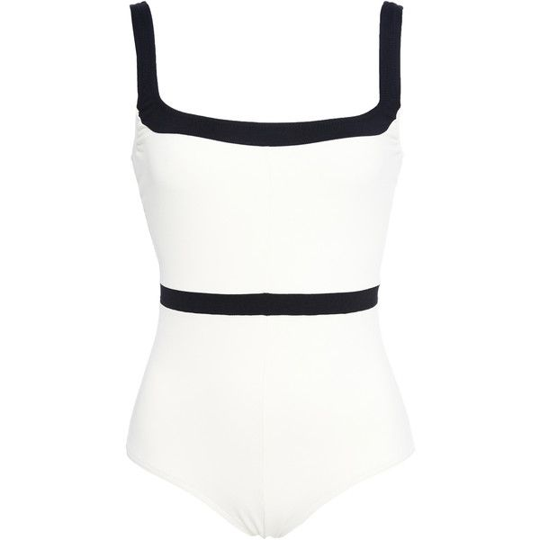 pretty nice d0053 39bc8 Laura Urbinati Two Tone One-Piece Swimsuit (€180) ❤ liked ...