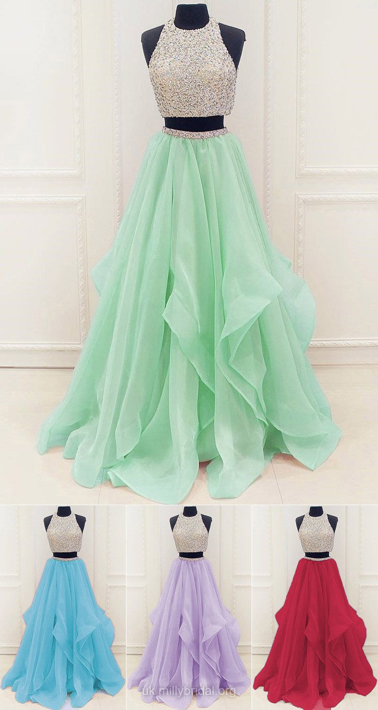 Two piece prom dresses long princess formal dresses modest