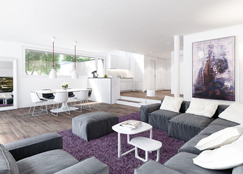 Modernes violettes Wohnzimmer in Wallisellen.