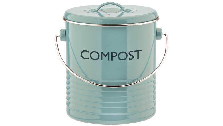 Typhoon Summer House Blue Compost Caddy 2 6 Quart Capacity