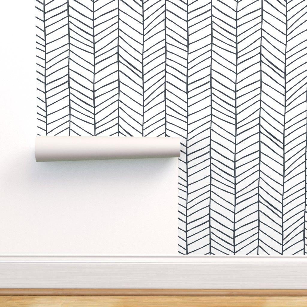 Modern Delicate Herringbone Wallpaper In Black And White Scandinavian Design Removable Self Adhesive Traditional Material Diseno De Lavadero Almacenamiento De Despensa Renovacion De Lavanderias