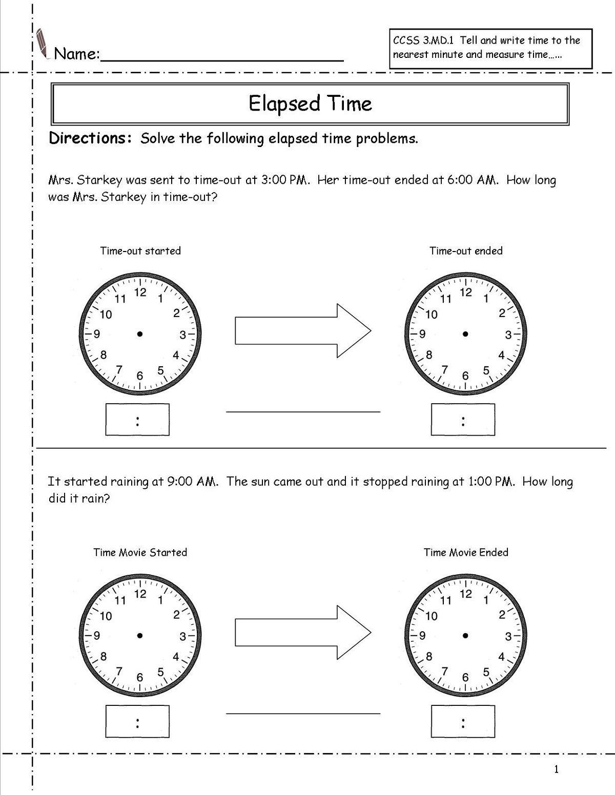 Elapsed Time Ruler Worksheet