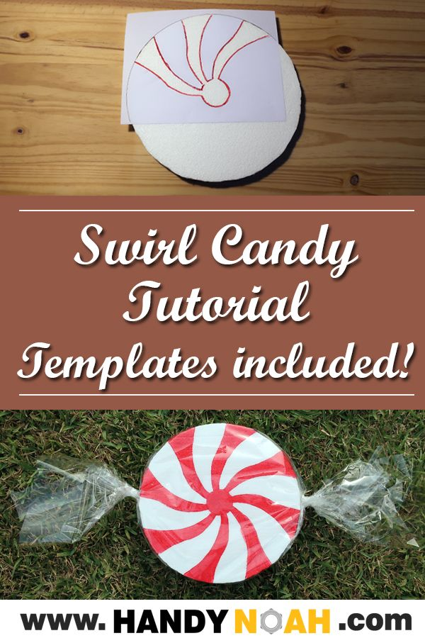 Swirl candy tutorial with templates included - DIY #candylanddecorations