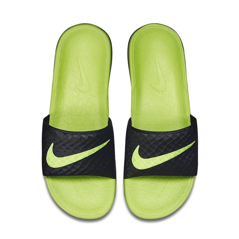 Nike Benassi Solarsoft Slide Sandal 705474 070 Black Green ...