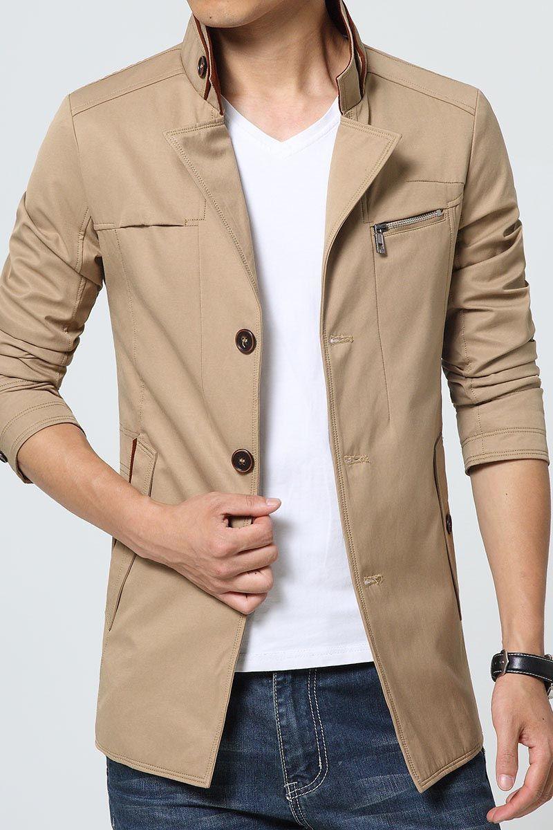 Men S Khaki Long Sleeve Button Jackets Multi Pockets Design V Chest Button On Sleeve Casual Outdoor Leisur Mens Fashion Coat Jackets Men Fashion Jackets [ 1200 x 800 Pixel ]