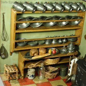 Spectacular Antique early nuremberg miniature kitchen Antique miniature kitchen with pewter Puppenstuben k chen utensilien kupfer