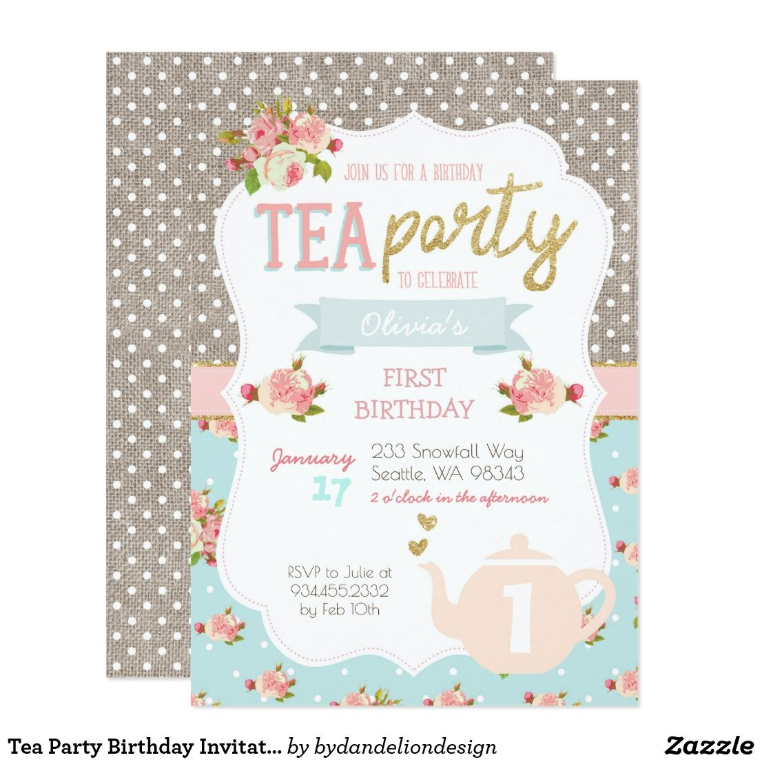 tea party birthday invitation zazzle