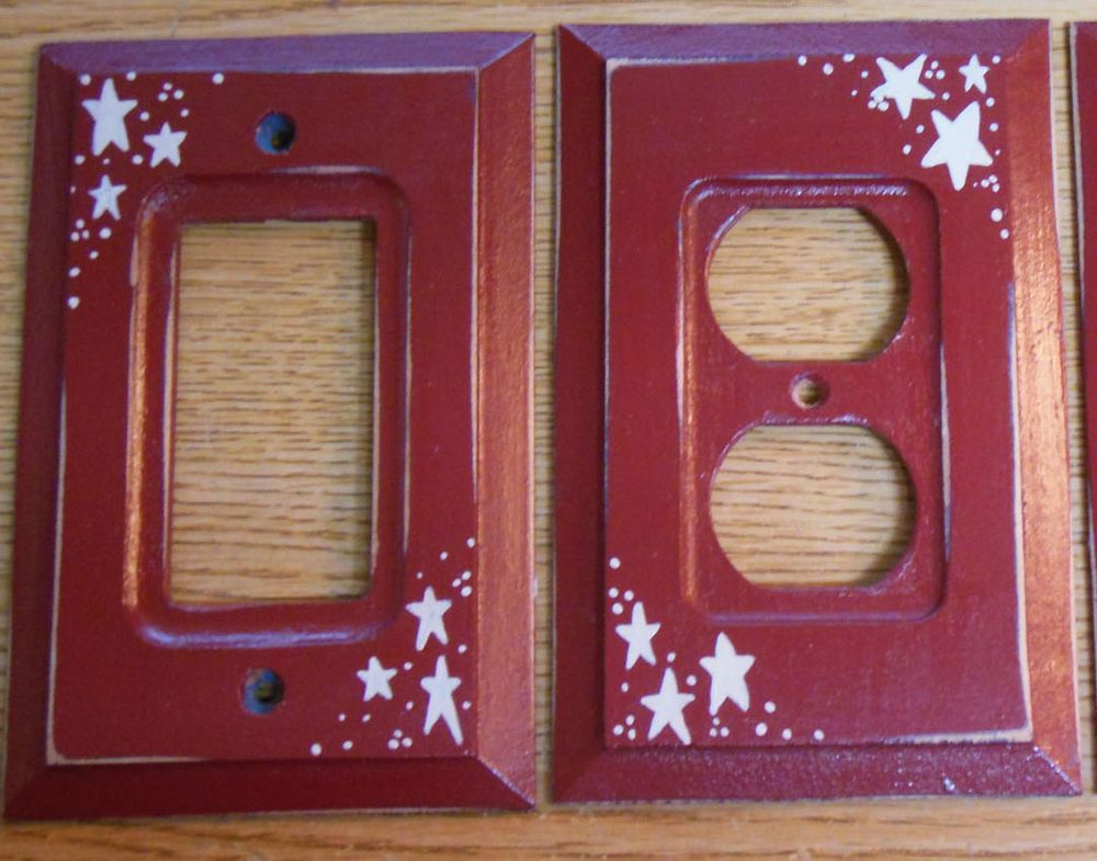Primitive Country Barn Red with Stars Wood Switch Plate