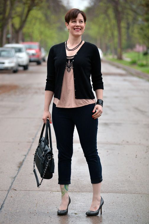 Already Pretty outfit featuring black cardigan, embellished ...