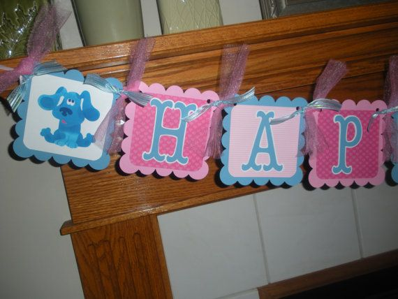 Blues Clues Happy Birthday Banner Matching Tissue Pom Poms Are Available on Etsy, $28.00