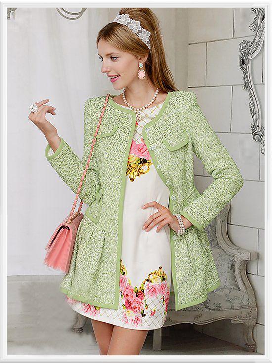 Morpheus Boutique  - Green Knit Long Sleeve Flare Designer Coat