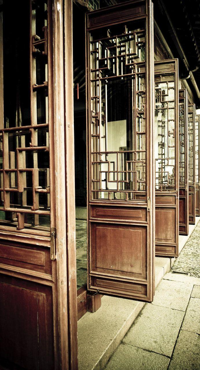 Wooden doors in Suzhou, China. Wooden doors, Chinese