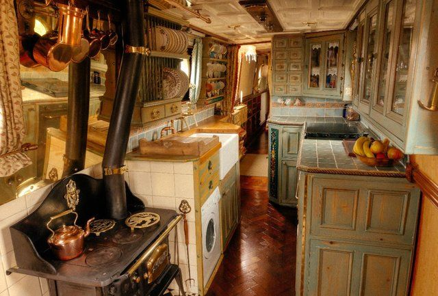 50 Foot Liveaboard Traditional Stern Narrow Boat Dish Rack Above Sink Kitchen