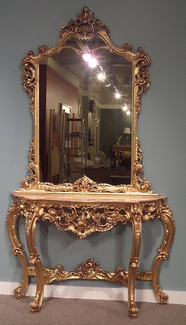 Two piece ornate rococo style marble top console table mirror gold leaf color marble rose - Ornate hall table ...