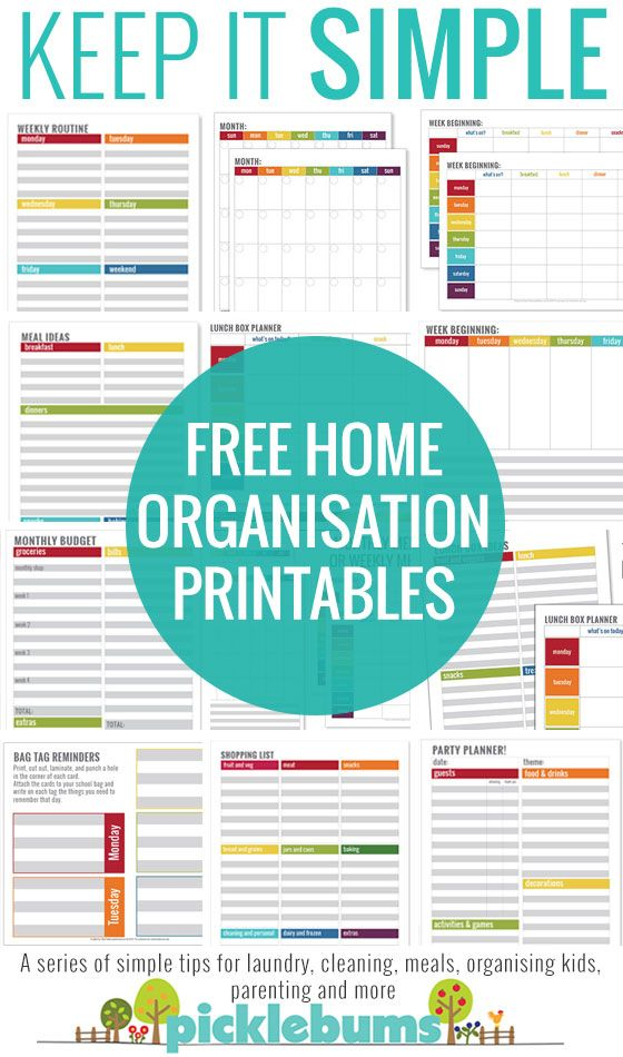 Simple Home Organisation Printables Household, Organizations and Free