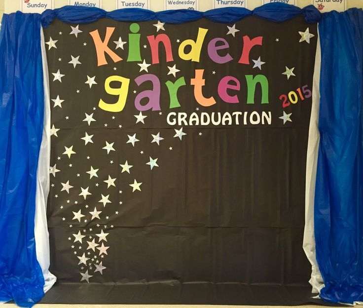 Kindergarten graduation backdrop end of the school year - Kindergarten graduation decorations ...